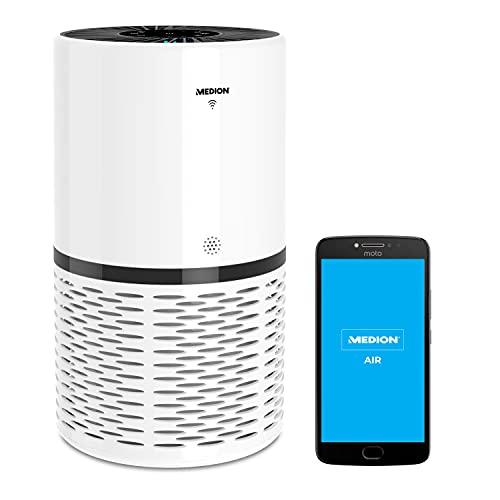 MEDION Luftreiniger mit App Steuerung (HEPA Filter, Smart, reduziert Aerosole Pollen Staub Tierhaare, bis zu 52 m², Luftqualitätsanzeige, Timerfunktion, Schlafmodus, MD 10171)