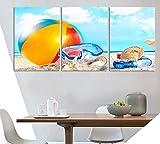 HHLSS 3 PanelLeinwandGemäldePlakat Moderne Heiße Sommer Strand Leinwand Malerei Ball Tauchen...