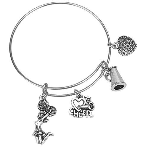 Hazado Cheer Bracelet for Girls Cheerleading Bangle Cheer Jewelry Gift for Cheerleader, Cheer Coach or Team