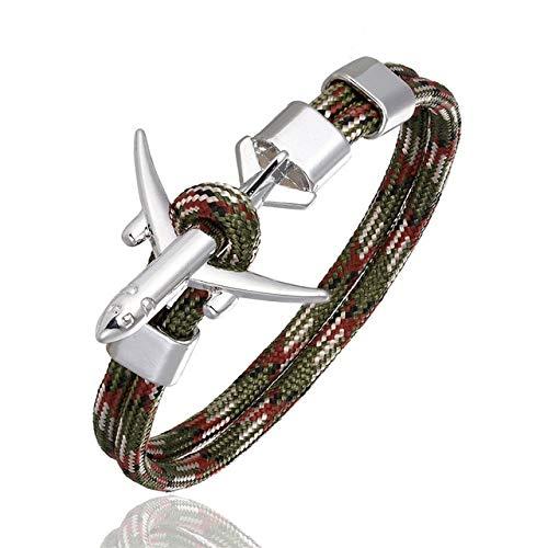 BQZB Armband Aankomst Vliegtuig Anker Armbanden Mannen Bedel Touw Chain 550 Paracord Armband Mannelijke Wrap Metalen Sport Hooks Sieraden 19cm Camouflage