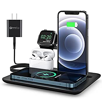 Wireless Charger 5 in 1 Wireless Charging Pad 15W Qi Fast Charging Dock for iPhone 12/11 Pro Max/SE 2/XS Max/XR/XS/X/8/8P/7/7P/5 SE Charging Dock for iWatch 6/5/4/3/2 Airpods Pro/2/1  With Adapter
