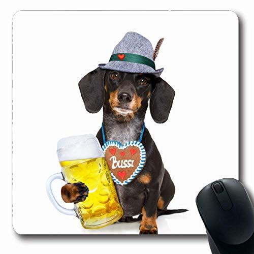 Jamron Mousepad OblongWiesn Bayerisches Herz Dackel Wurst Toast Hund Lebkuchen Sport Erholung Festival Bar Zapft rutschfeste Gummimaus Pad B眉ro Computer Laptop Spiele Mat.-Nr.