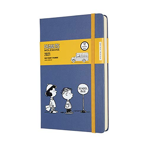 """""""Moleskine Limited Edition Peanuts 12 Month 2021 Daily Planner, Hard Cover, Large (5"""""""" x 8.25"""""""") School Bus"""" (DPE12DC3Y21)"""