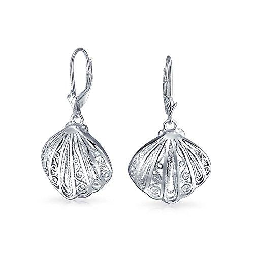 Nautisch Tropischen Strand Muschel Filigrane Baumeln Ohrringe Leverback Für Damen Leben Meer 925 Sterling Silber
