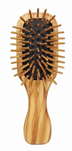 Lilywoods Mini Travel Size Houten haarborstel met rubberen kussen & olijfhouten pinnen