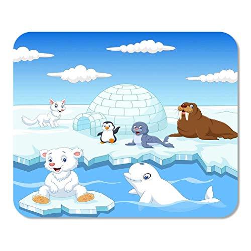 Mousepad Mat Arctics Tiere Iglu Eis Polar Cartoon Rechteck Mauspad Rutschfestes Spiel Schreibtisch Computer Laptop Gummi Glatte Oberfläche Langlebig