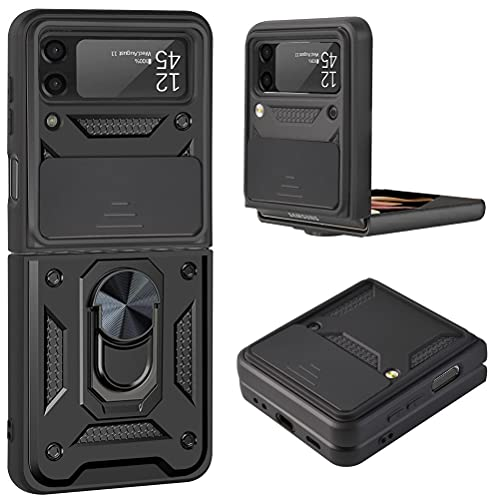 Futanwei Heavy Duty Shockoroof Armor Case for Samsung Galaxy Z Flip 3 5G (2021), Galaxy Z Flip 3 Case with Camera Cover Protection & Ring Holder Stand/Kickstand - Military Grade Drop Tested, Black