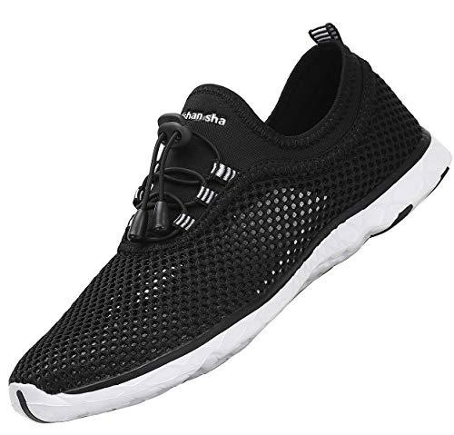 SAGUARO Wasserschuhe Herren Aquaschuhe Damen Badeschuhe Outdoor Fitness Walking Sneakers Sommerschuhe Leichte Freizeitschuhe,Schwarz 42 EU