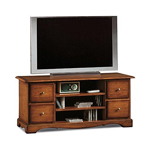 InHouse srls Mobile Porta TV, Arte povera, in Legno massello e MDF con rifinitura in Noce Lucido - Mis. 117 x 49 x 53