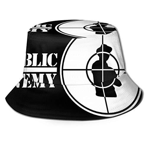 JHGFG Hombres y Mujeres Gorras Generales Algodón Sombrero de Pescador Public Enemy Log & ARV; & brvbar; Fashion Hat Bucket Cap Black