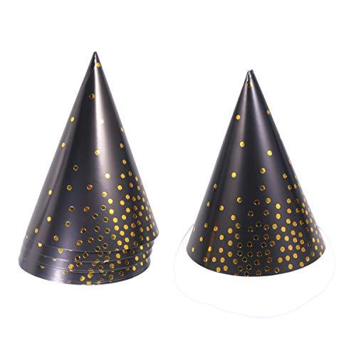 Amosfun Party Cone Hoeden Golden Dot Papier Verjaardag Hoed voor volwassenen en kinderen Verjaardag Party Baby Douche Photo Props 10 STKS