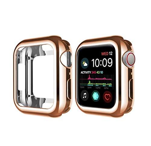 JJBFAC Funda de reloj para Apple Watch 6, 5, 4, 40 mm, 44 mm, de TPU (poliuretano termoplástico), Slim Soft para iWatch Serie 3, 2, 1, 38 mm, 42 mm, color oro rosa, diámetro del dial: 42 mm.