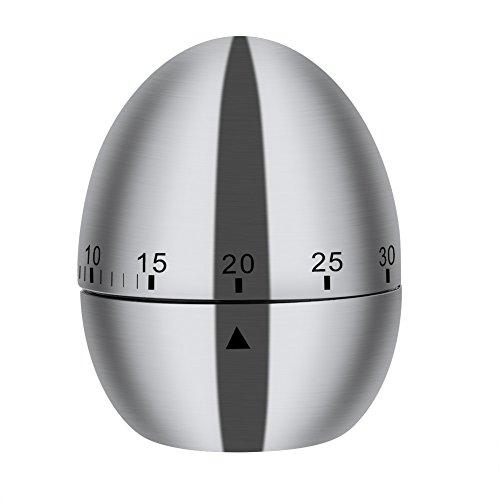 Temporizador de cocina de acero inoxidable con forma de huevo para 60 minutos.