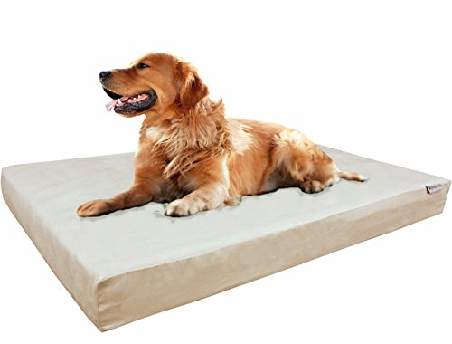 Dogbed4less Extra Large True Orthopedic Gel Memory Foam Dog Bed for Large Pet, Waterproof Liner and Durable Khaki Cover, XL 40X35X4 Inch