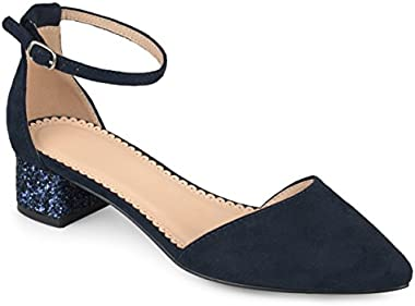Journee Collection Womens Pointed Toe Ankle Strap Glitter Heels