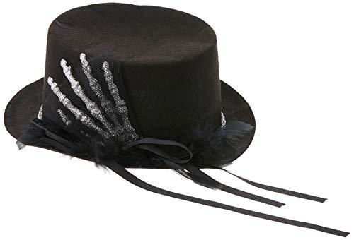 Smiffys Haut de forme, Noir, avec main de squelette, plumes & rubans