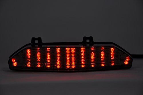 topzone Lighting Gris Lens LED moto feu arrière feu arrière avec Indicateurs clignotant Lampe Intégrée pour Kawasaki 2007–2008 Ninja ZX 6R – 2008–2010 Concours 14