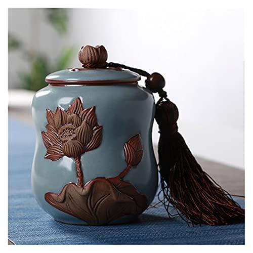 Tarra de almacenamiento de alimentos Botellas de té de cerámica para la cocina Spice Azúcar Coffee Caramelo Té Soldries Pequeños contenedores de almacenamiento con cubierta ( Color : Lianhuaruyao )
