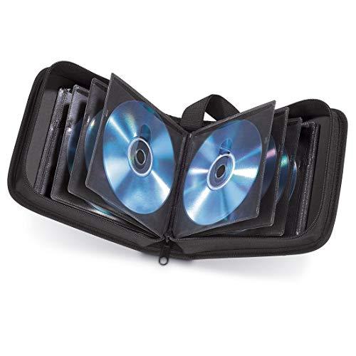 Hama CD Tasche für 32 Discs / CD / DVD / Blu-ray (Mappe zur Aufbewahrung , platzsparend für Auto & Zuhause, Transport-Hüllen) Schwarz