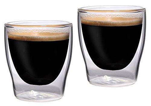 Feelino Bloomino doppelwandige Espresso-Gläser, 2er-Set 80ml Thermo-Gläser mit Schwebe-Effekt im Geschenkkarton, 2x 80ml