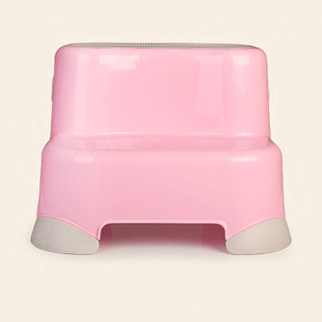 学ぶボイド前進トイレトレーニングスツールピンク?グリーンのためにフットスツールキッズキッチンバスルームトイレベビーフットスツールプラスチック非スリップ2ステップラダーデザイン (色 : ピンク)