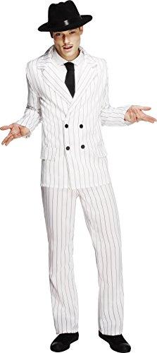 Smiffys-31079M Disfraz Fever de gánster, chaqueta, pantalones y corbata, Blanco rayado negro, M