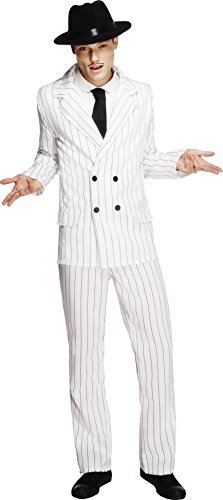 Smiffys Gangster koortskostuum - jas, broek en stropdas - wit met zwarte strepen