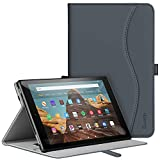 ZtotopCase for All-New Amazon Kindle Fire HD 10 Tablet Case (2019/2017,9th/7th Gen) - Ultra Thin PU Leather Multi Angle Folding Case with Auto Wake/Sleep Function - Dark Grey