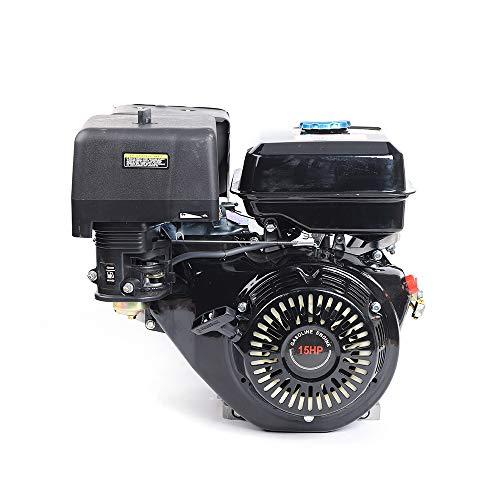 TBVECHI 420CC Gasoline Engine Petrol Engine Gas Motor Engine Go Kart Motor OHV 15 HP 4 Stroke Manual Recoil Start Garden Tool Gas Motor Single Cylinder & Oil Alarm (Black)