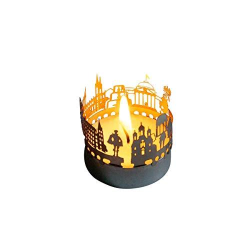 13gramm Wiesbaden-Skyline Windlicht Schattenspiel Souvenir, 3D Edelstahl Aufsatz für Kerze inkl. Karte