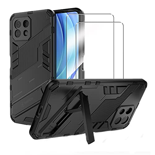 Xiaomi Mi 11 Lite 5G 用 ガラスフィルム(2枚入り)+ケース(1枚入り)強化 ガラス 保護 フィルム スマホケース カバー スタンド機能 スタンドケース 耐衝撃 滑り落ちにくい Mi 11 Lite 対応