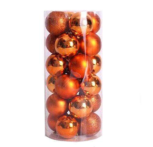 Paillette Boule de Noel Sapin de Noel Boules Mixte 8cm 24pcs Noel Decoration Interieux (Orange)
