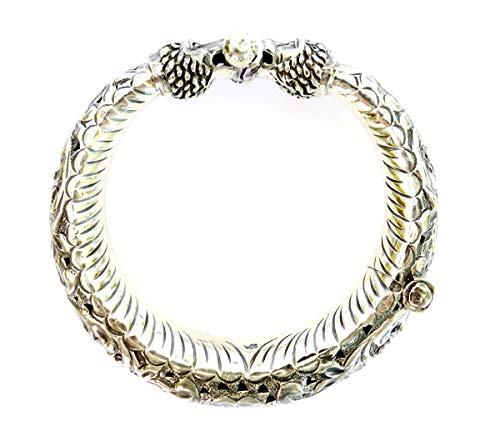 925 Sterling Silber Zigeuner Armreif für Frauen einzigartige Designer Löwe Gesicht graviert feine handgemachte Mode Vintage Tribal Manschette Armband