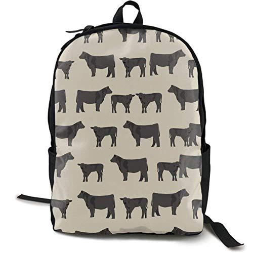 XCNGG Mochila de impresión de fotograma Completo para Adultos Mochila Informal Mochila Mochila Escolar Lightweight Durable Backpack Daypack for School Travel Hiking, Angus Cattle Animal