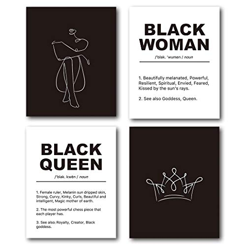 XUWELL Inspirational Quotes Abstract Line Black Queen Woman Wall Art Prints, Modern Minimalist Wall Art Decor for Black Women Bedroom Bathroom, 8 x 10 Inch Set of 4 Prints, Unframed