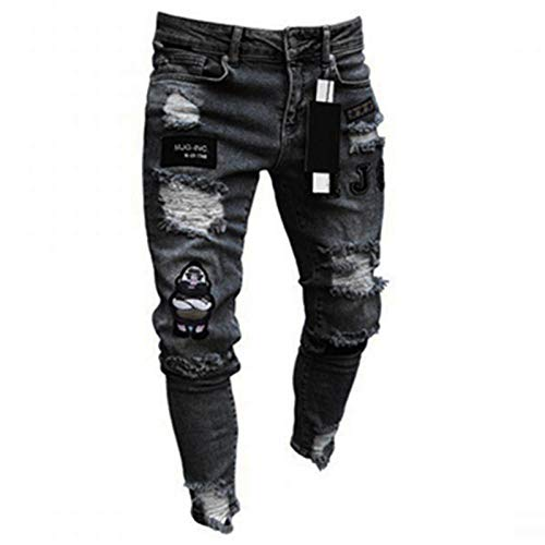 Jeans Männer Coole Schwarze Jeans Skinny Ripped Destroyed Stretch Slim Fit Hop Hop Hose Mit Löchern Für Männer Slim Hip-Hop Reißverschluss Jeans L Schwarz