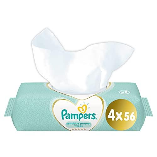 Pampers Perfume-Free Sensitive Wipes - 4 x Packs of 56 (224 Wipes)