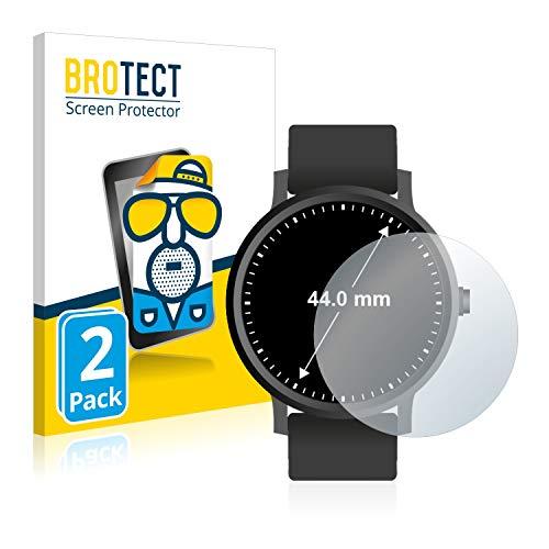 BROTECT 2X Entspiegelungs-Schutzfolie kompatibel mit Armbanduhren (Kreisrund, Durchmesser: 44 mm) Matt, Anti-Reflex, Anti-Fingerprint
