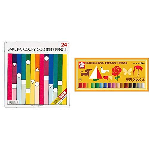 【セット買い】サクラクレパス クーピー色鉛筆 24色 PFY24 & クレパス 16色 ゴムバンド付き LP16R