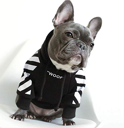 Treat Dog Hoodie,Black White Dog Hoodie,Designer Dog Clothes,Clothes for Bulldogs,Small Dog Sweater,French Bulldog Hoodie,French Bulldog Clothes,Bulldog Sweater,Dog Hoodies for Medium Dogs(B/W, S)