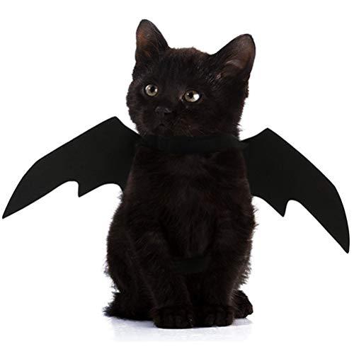 POPETPOP Ropa de Murciélago del Mascotas, Disfraz de Murciélago de Navidad para Gatos, Cosplay de Murciélagos de Moda para Gatos y Perros (Negro)