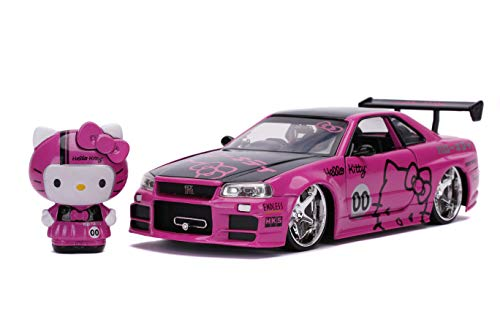 Jada Toys Hello Kitty 1:24 Nissan Skyline GT-R R34 Die-cast Car with 2.75'' Hello Kitty Figure Pink, Toys for Kids and Adults