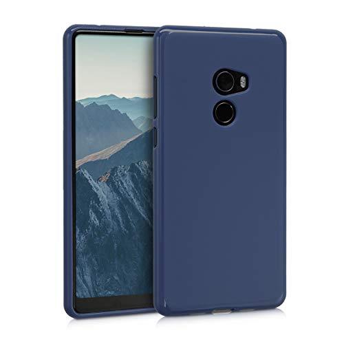 kwmobile Funda compatible con Xiaomi Mi Mix 2 - Carcasa de TPU silicona - Protector trasero en azul oscuro mate