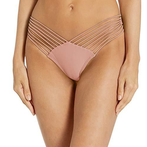Luli Fama Women's Cosita Buena Wavey Brazilian Ruched Back Bikini Bottom, rosa, SML