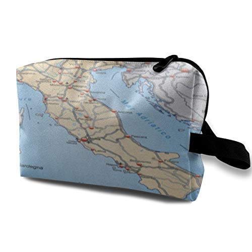 ZZguowuque Makeup Bags For Women,Travel Makeup Bag,Small Cosmetic Bag Ancona Map Of Italy Highways In Pastel Orange Benevento Bergamo Bologna