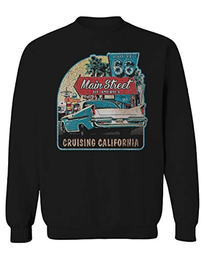 Route 66 California Republic Vintage car Cool cali Men's Crewneck Sweatshirt (Black Small)