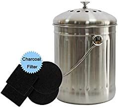 Kitchen Compost Bin 1.3 Gallon, Countertop Compost Bins with Lid and 4 Charcoal Filters, Stainless Steel Indoor Compost Bin Rust Proof/Odorless Design