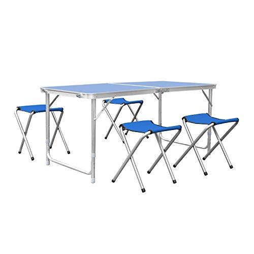 Homfa Tavolo da Picnic Pieghevole per Esterno Tavolo da Gruppo Gruppo familiare (1.2M+Quattro sgabelli, Blu)