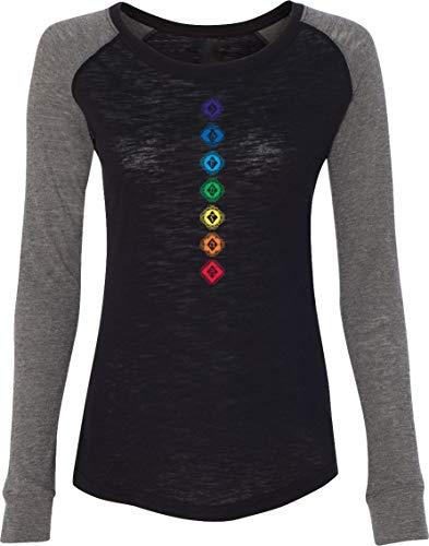 Diamond Chakras Ladies Preppy Patch Elbow Yoga Tee Shirt, Black XL