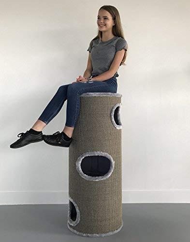 RHRQuality Kratztonne für große Katzen XXL Coony Lounge hell Grau 44cmØ x 110cm Kratzbaum für Katzen Kratzmöbel Katzenkratzbaum Katzentonne Klettertonne stabil
